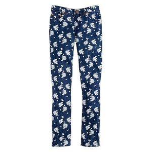 JCrew cropped matchstick jean indigo floral EUC